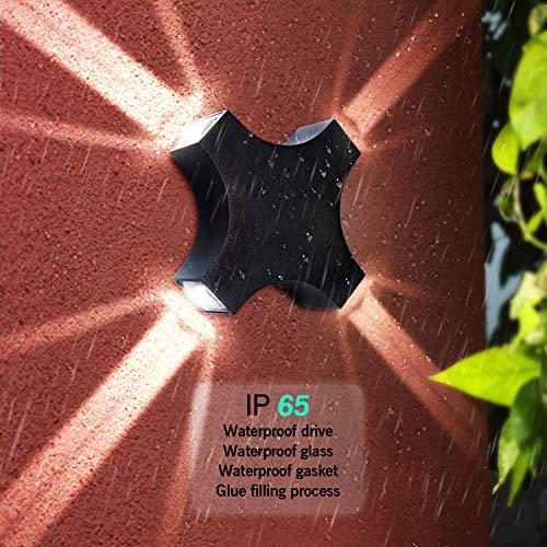 SISVIV 12W LED Applique Esterno Lampada da Parete Interno Moderno Lampada da Muro Design Impermeabile IP65 per Cortile Corridoio GiardinoNero
