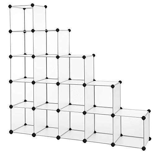 SONGMICS Guardaroba Modulare Armadietto Scaffale Mobiletto a 16 Cubi Scompartimenti per Abbigliamento Giocattoli Borse Aperti Bianco Semitraslucente LPC44L