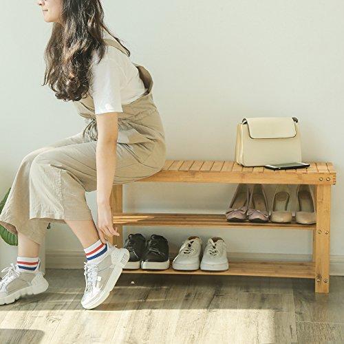 SONGMICS LBS90N Panca Scarpiera a 3 Livelli Scaffale per Scarpe 90 x 28 x 45 cm per Ingresso Bagno Soggiorno e Corridoio