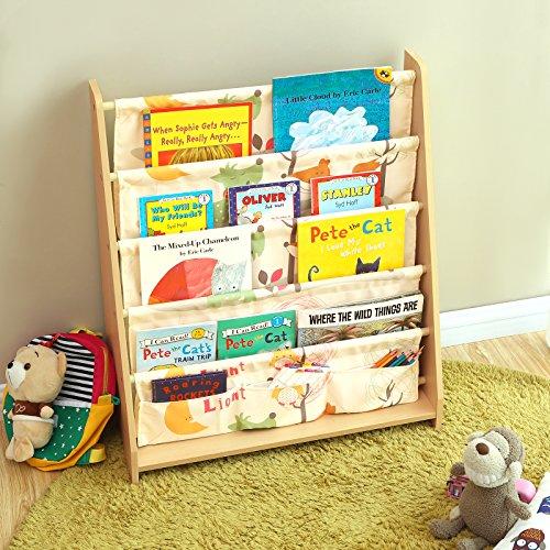 SONGMICS Libreria di Tessuto per Bambini Libreria a 4 Livelli per Cancelleria Libri e Quaderni Scaffale per Cameretta Asilo Tema Animali e Finitura Acero GKR71YL