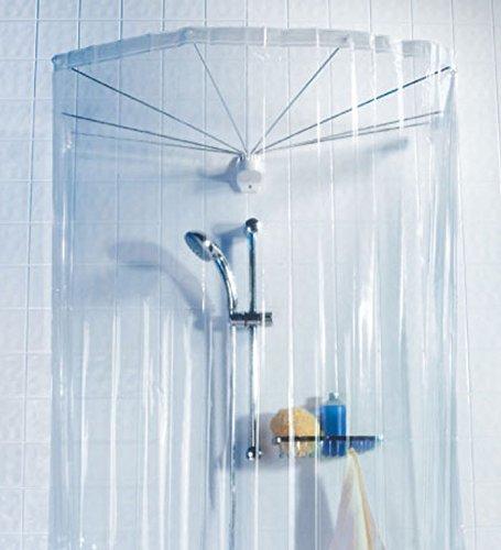 Spirella Ombrella Clear 1004436 Telaio a Ombrello per Doccia con Tenda Doccia 200x170 cm Colore Trasparente