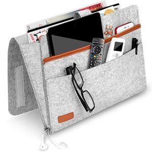 Tasca da Letto Borsa da Comodino Feltro Caddy Divano Letto Tidy Pocket Organizzatore per Telefono Telecomando Magzine Occhiali Libro 4 TaschenLight Gray