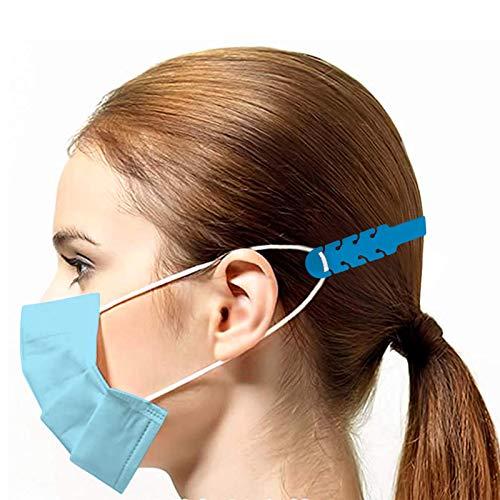 TBOC Cinghia di Prolunga per Maschera  Pack 5 Unit Estensione Antiscivole Blu Ganci in Silicone Supporto Fascetta Regolabili e Allungabili per Prevenzione Mal Testa Protezioni Salva Orecchie