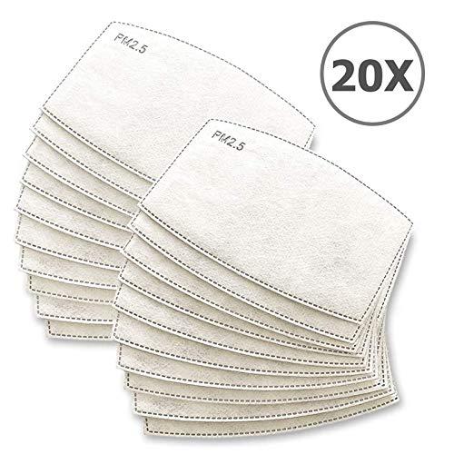 TBOC Filtro Monouso per Mascherina  Pack 20 Unit Lotto di Filtri intercambiabili 5 Strati di Filtrazione Sostituibili Materiale Morbido e Traspirante Protezione Polvere Inquinamento Agenti Dannosi