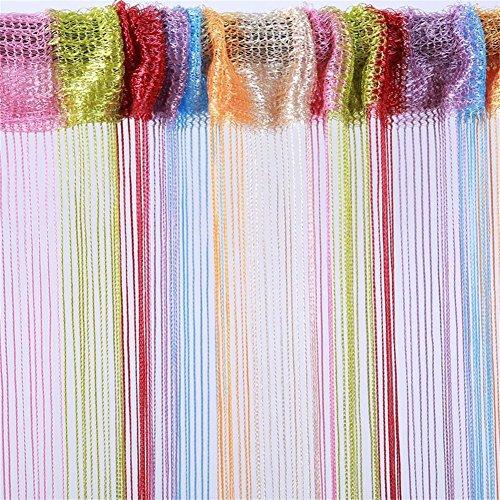 Tenda a fili per porta pannello a frangia per finestra divisorio per stanze casa patio camera da letto decorativa con nappe fili argentati per matrimoni caffetteria ristorante Multicolor