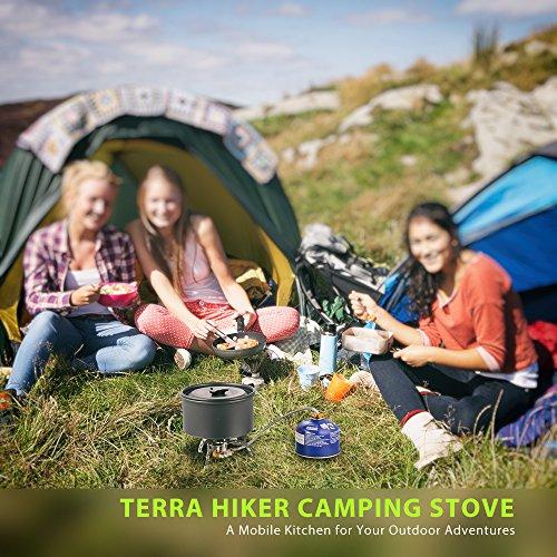 Terra Hiker Fornello da Campeggio Compatto Fornello a Gas Portatile con Comoda Accensione Pezoelettrica Resistente con Borsa per Il Trasporto