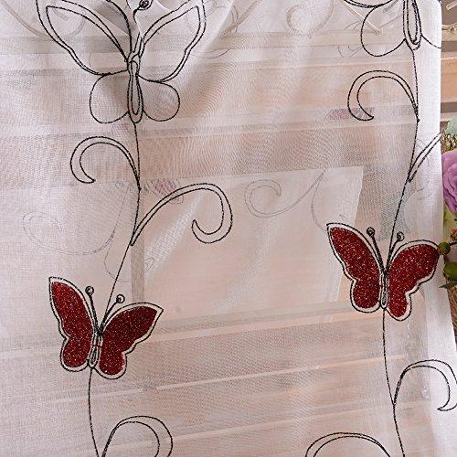 Topfinel Ricamato Farfalla Voile Tende per Salotto Tenda con Occhielli Pura Parete Porta Finestra Balcone300 x 250 cm 1 Pezzi Rosso