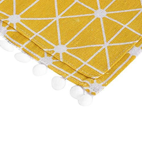 TOPINCN  Copertura Antipolvere per Frigorifero Multiuso in Cotone e Lino con Tasche Laterali a Strisce Gialle e Bianche 55 X 130cm