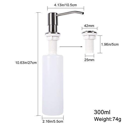 TOPINCN Dispenser di Sapone 300 ml Dispenser di lozione erogatore Sapone in Acciaio Inox Dispenser per Cucina Moderna