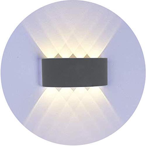 Topmoplus 8W lampada da parete a LED Lampada Muro Alluminio Applique da parete Esterne interne  8W Puri COB Su e Gi design impermeabile IP65 scala corridoio soggiorno 8W grigio  bianco caldo
