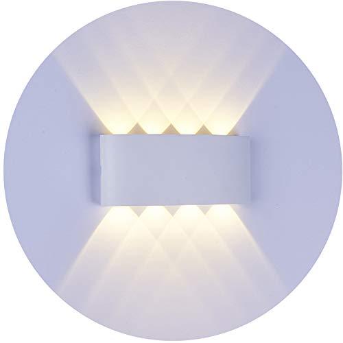 Topmoplus lampada da parete a LED Lampada Muro Alluminio Applique da parete Esterne interne 8W Puri COB Su e Gi design impermeabile IP65 scala corridoio soggiorno 8W bianco caldo