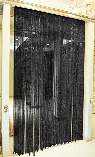 TRIXES Pannello Tenda a Striscioline con Gocce di Rugiada Nere  90 x 200 cm  Effetto Cascata di Rugiada  Tenda a Fili Neri  Divisorio Porta e Pannello Tenda per Finestra