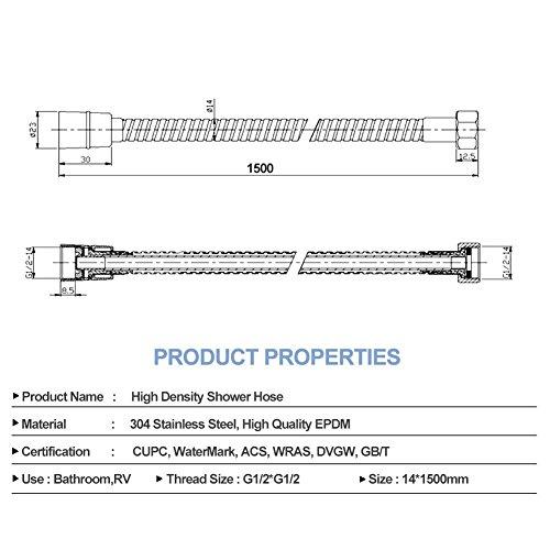 Tubo flessibile per doccia S R SUNRISE di ricambio antinick flessibile misura standard 15 m 59 in acciaio inox cromato