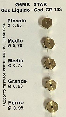 Ugelli Gpl 6 MB Universale Diametro mm 6Mb Tipo gas Gpl bombola GRANDE 2 MEDI PICCOLO FORNO
