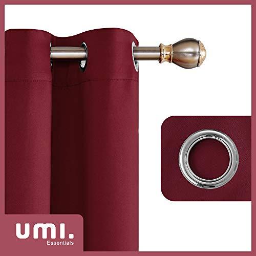 UMI Essentials Tende Oscuranti e Termiche Isolanti per Camera da Letto con Occhielli 140x175cm Rosso Scuro 2 Pezzi