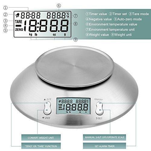 Uten Bilancia da Cucina Digitale Elettronica 5kg con Ciotola in Acciaio Inossidabile da 2 Litri Display LCD Color Argento