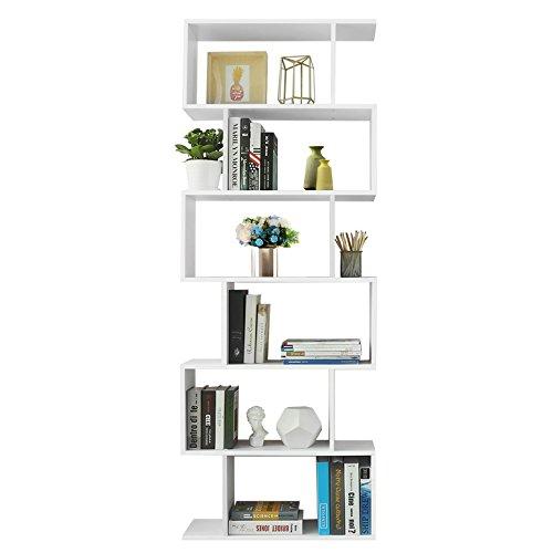 VASAGLE Libreria in Legno Scaffale a Ripiani e Divisore dInterni Mobile Guardaroba Contemporaneo Decorativo Autoportante a 6 Livelli Bianco LBC61WT