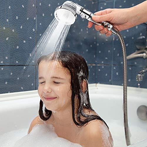 VEHHE Soffione doccia Potente flusso con filtro perline Alta pressione Boosting Soffioni doccia portatili Spray con 3 modalit Risparmio idrico Design con un pulsante di arresto