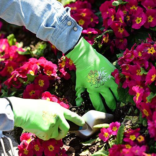 Vgo 3 paia guanti da lavoro e giardinaggio con rivestimento in lattice guanti da giardino donna edile multifunzione 7SViola  Verde  RosaRB6013