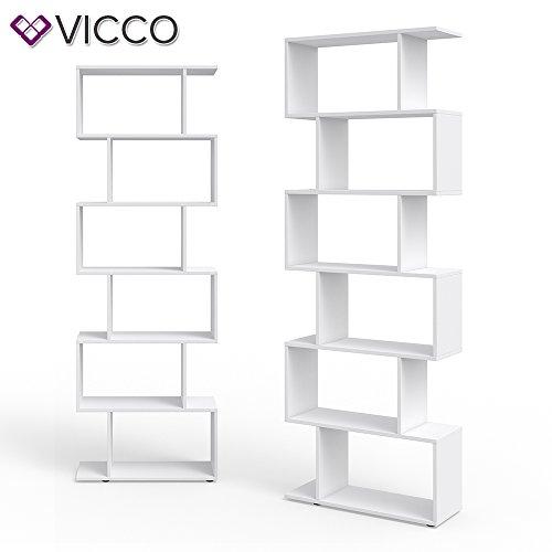 Vicco Libreria Moderna Ideale Come Parete divisoria LEVIO  Libreria Design da appoggio Scaffale portaoggetti Alto Ideale Come Portadocumenti Libreria divisoria Bianco