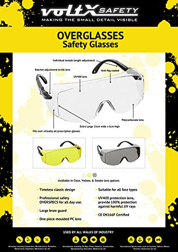 voltX OVERSPECS Occhiali di sicurezza per uso industriale dotati di certificazione CE EN166F lenti trasparenti aste regolabili singolarmente antinebbia resistenti ai graffi protezione UV400  Safety Glasses