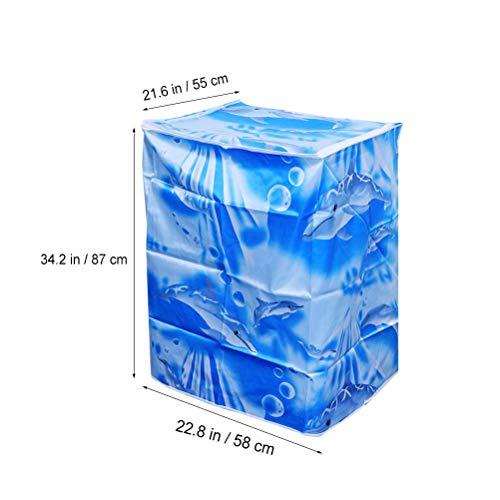 VOSAREA Coprilavatrice Verticale Impermeabile con Cerniera AntiSpruzzi e Anti Sunlight 55  58  87 cm Onda