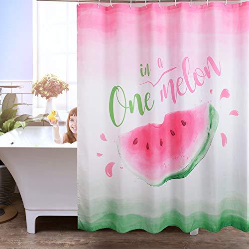 WERNNSAI Tenda per Doccia per Bagno  180 x 180 cm Anguria Tende da Bagno Tessuto in Poliestere Tessuto Lavabile in Lavatrice One in Melon Tende con Ganci Bianchi