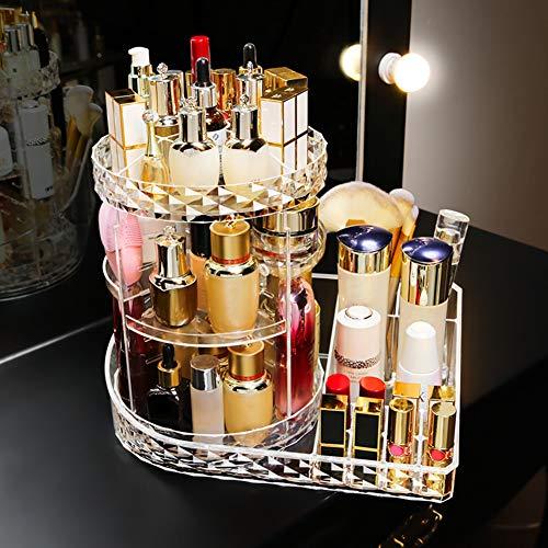 YZCX Organizzatore di Trucco 360 Gradi Rotante Cosmetico di Immagazzinaggio Organizzatore Stoccaggio Cosmetico Regolabile Contenitore Cosmetico Trasparente per Camera da letto Bagno
