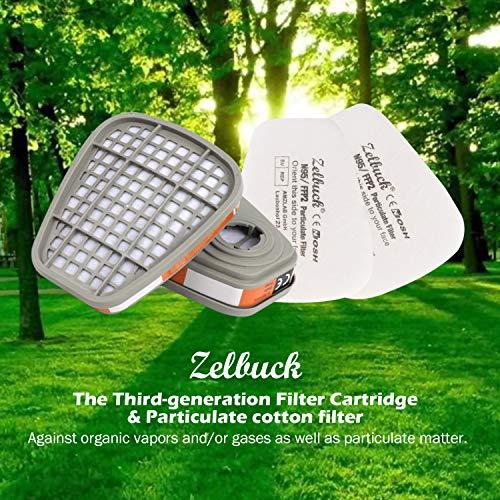Zelbuck Filtri per Copertura Mezza Faccia 2x Cartuccia Filtro e 2x Filtro Cotone  Filtro per Copertura Antipolvere Riutilizzabile Anti Gas Vapori e Particella