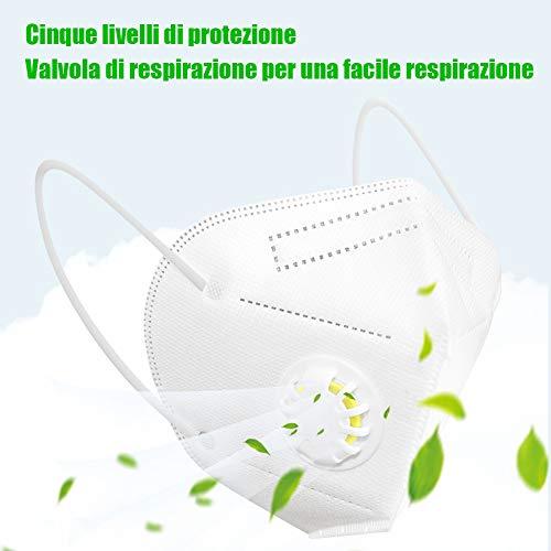 Katomi 10 pezzi di Facciale protettiva personale a 5 strati con valvola nasello regolabile Magazzino italiano Consegna in 13 giorni