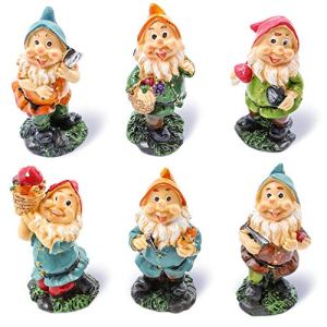 Juvale Set di 6 mini Gnome cifre – Fairy Garden Gnomes – Gnome figurine, colori assortiti, 4,3 x 10,2 x 4,1 cm