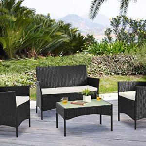 YOUKE Rattan mobili da Giardino Divano Set di tavoli e sedie da Giardino, verand, 4 Pezzi in - Nero