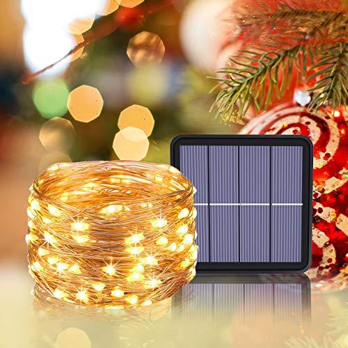 2 Pacchi Luci Solari Esterno Litogo 12m 120 LED Catena Luminosa Esterno Filo Luci Led 8 modalit Lucine da Esterno Decorative Per Giardino Natale Patio Cancello Cortile Matrimonio Festa