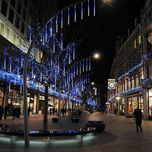 30cm 10 Tubo 360LED Pioggia Luci DINOWIN Meteor Luci Impermeabili Solare Decorazione luci a Sospensione per Esterni Giardino Festa di Nozze alberi di Natale Blu