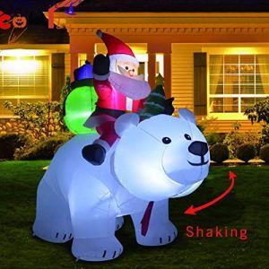 Babbo Natale a Cavallo Orso Polare per la Decorazione del Giardino InternoEsterno del Cortile di Natale