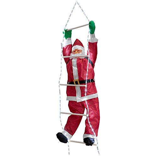 Babbo Natale sulla scala 220cm Decorazione natalizia Personaggio natalizio Santa Claus Per esterno  interno