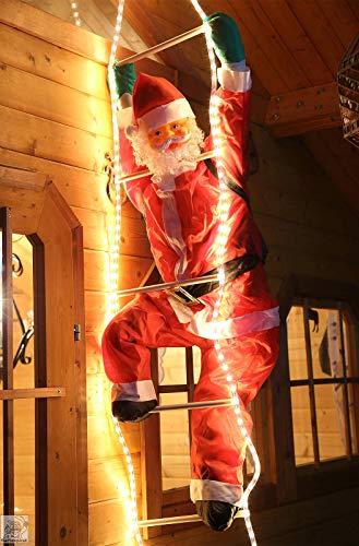 Gartenpirat Illuminato Babbo Natale su Una Scala per lesterno
