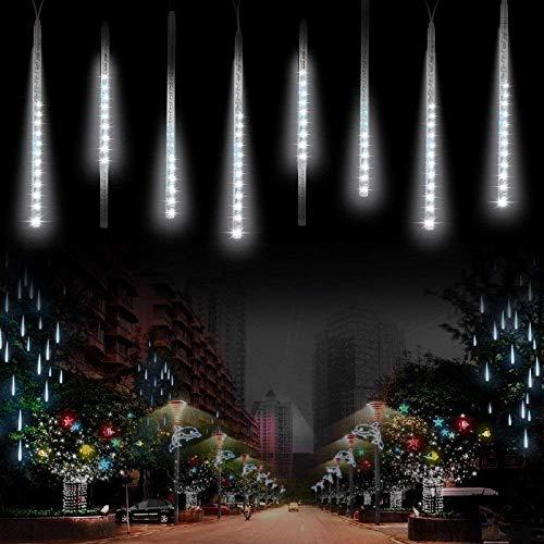 Luce Natale LED Pioggia LuciSUAVER Impermeabili solare Luci decorative giardino con 30cm 10Tubi 360LEDluci a sospensione per giardinoalberi di NataleBianca