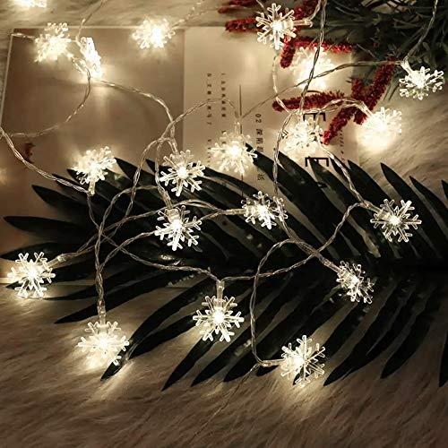 Luci a Fiocco di Neve DIKI Catena Luminosa di Neve di Natale a Batteria 164FT 40 Luci Bianche a LED per Camera da Letto Festa Matrimonio Interno Corridoio Giardino Cortile Decorazione del Festival