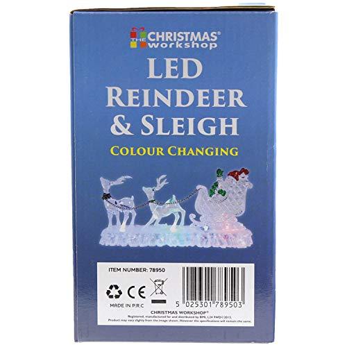 The Christmas Workshop  Decorazione Natalizia a Forma di Slitta con Renne in Materiale Acrilico Funzionamento a Batteria con luci Che cambiano Colore