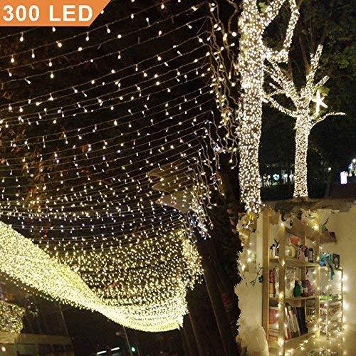 Uping Catena Luminosa Stringa di Luci 300 LED per Festa Giardino Natale Halloween MatrimonioBianca Calda