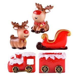 Vosarea 5 pezzi Giardino delle Fate in Miniatura con Alce Slitta Auto di Resina Natale Miniatura Kit Decorazione per Casa delle Bambole