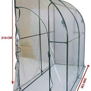 Serra casetta a parete da giardino copertura per orto piante fiori 200x100h210