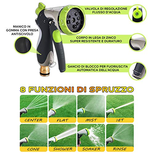 Fluex Tubo Estensibile da Giardino per Irrigazione Professionale Allungabile 30M, con 8 Funzioni di Spruzzo per Giardinaggio Lavaggio Auto e Casa