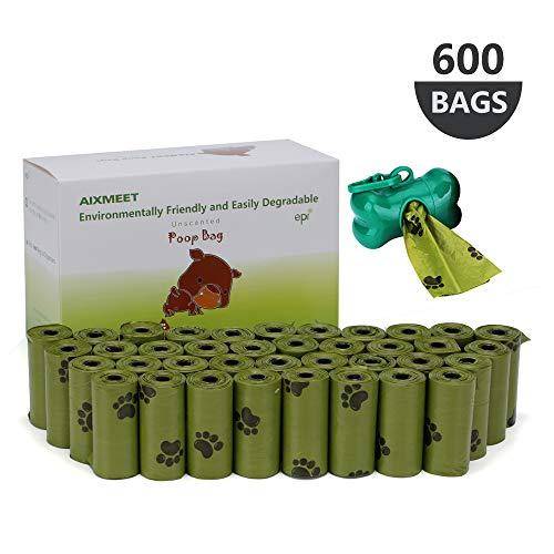 AIXMEET Sacchetti di Cacca di Cane600 Sacchetti Sacchetti biodegradabili per Escrementi del Cane pets Sacchetti per Escrementi del Cane 32x22cm  1 dispenser