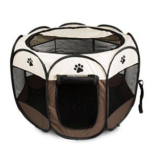 BIGWING Style Recinzione per Cuccioli  Grande recinto per Animali da Usare allInterno e allEsterno Facile da Montare Coffee L