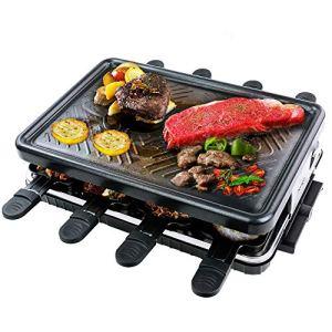 Raclette Grill per 8 Persone Piastra Griglia Elettrica per Cucinare Teppanyaki Grill da Tavolo Barbecue Elettrico con 8 Mini Padelle di Cottura e 4 Spatole in Legno Griglie Pasqua Elettriche 1300W