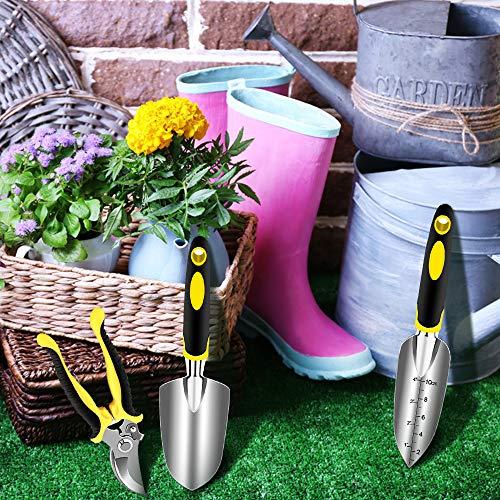 AGAKY Set Attrezzi da Giardino 3 Pezzi Durevole Alluminio Kit Giardinaggio Comprende Forbici Pala Cazzuola Regalo di Giardinaggio per Uomini e Donne