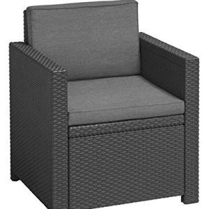 Allibert Victoria Chair Single Item Poltrona Lounge GrafiteGrigio Freddo Imbottitura in Policotone