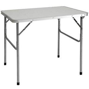 AMANKA Tavolino da PICnic 80x60x70cm Tavolo da Campeggio mercatino 3Kg in Acciaio Pieghevole Formato Valigia Grigio Chiaro